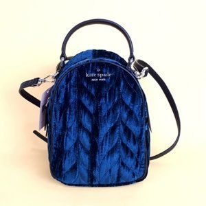NWT Kate Spade Quilted Velvet Mini Backpack Blue